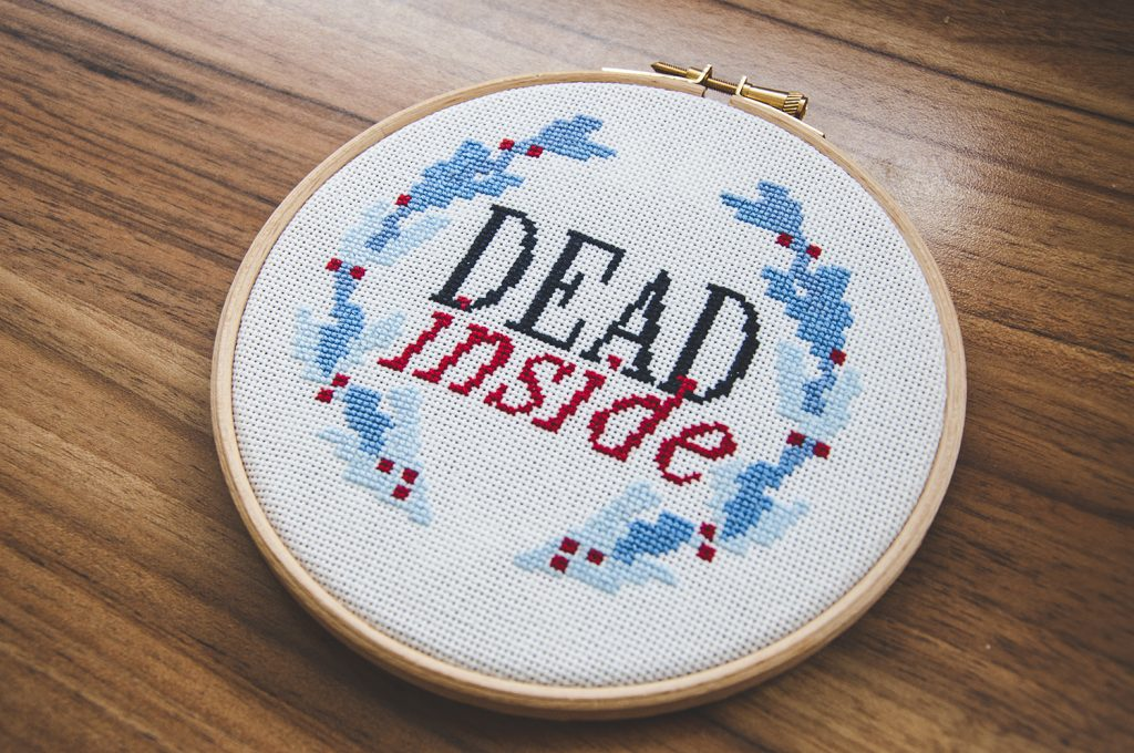 Dead Inside - Free Counted Cross-Stitch Pattern Finished Projects 2b