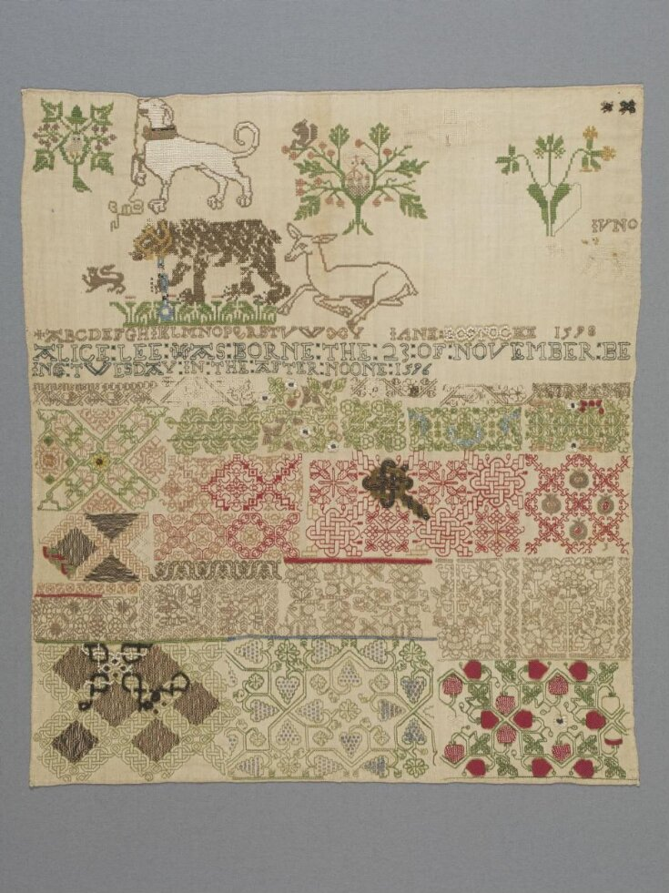 English girl Jane Bostocke created the first known cross stitch sampler in 1598 – depicting and celebrating the birth of a child, Alice Lee, in 1596.